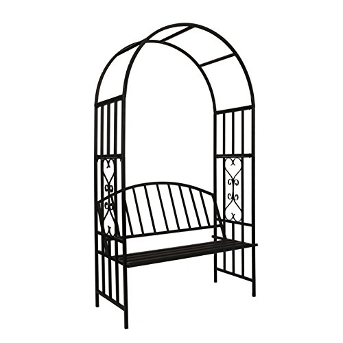 Better Garden Steel Garden Arch with Seat for 2 People, 6'7