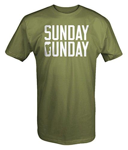 One Stop Gear Sunday Gunday Pistol 9mm Shooting Guns 2nd Amendment T Shirt - XLarge Military Green