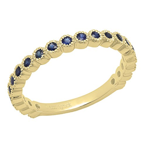 Dazzlingrock Collection 14K Round Blue Sapphire Eternity Stackable Anniversary Wedding Band, Yellow Gold, Size 7