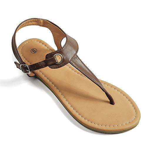 Soles & Souls Flat T-Strap Thong Sandal for Women Brown 095