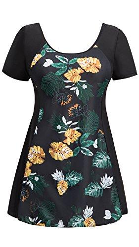 Ecupper One Piece Shaping Swim Dress Boyleg Short Sleeve Swimdress Bathing Suit Black Flower ()