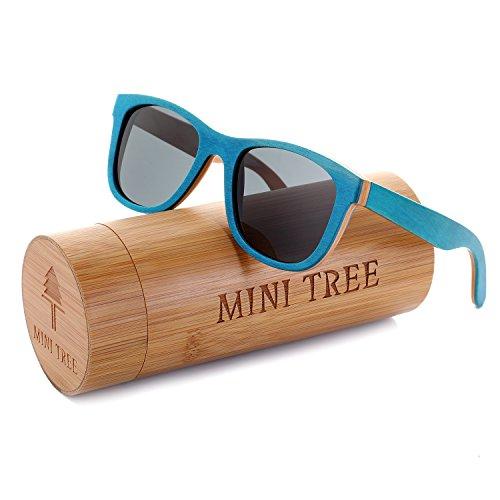 Tree Bamboo Blue (Mini Tree Women Skateboard Wood Sunglasses Polarized Wayfarer Men Sun Shades with Bamboo Case (Blue, Gray))