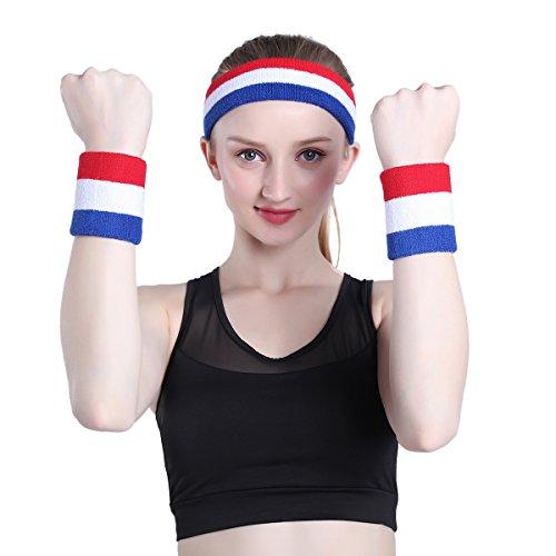 ONUPGO Sweatband Set Sports Headband Wristband Set Sweatbands Terry Cloth Wristband Wrist Sweatband Headbands Moisture Wicking Sweat Absorbing Head Band 7