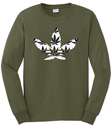 Cybertela Men's Marijuana Leaf Weed Symbol Logo Long Sleeve T-Shirt (Olive Green, Large) (Shirts With Weed Logo)