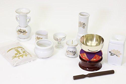 Yamako Buddhist Altar Fittings Ceramic Eight Piece Set White/Golden Lotus And Buddhist Bell (Buddhist Shrine)
