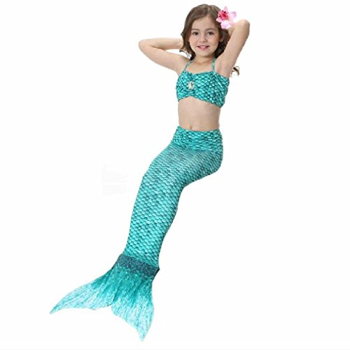 Galaxy Princess Halloween Costume (Suzzo 2-12Y Girls Mermaid Tail Princess Dress Simulation Split Mermaid Tail Beachwear Girls Halter Swimwear Bathing Suit Hairpin Free)