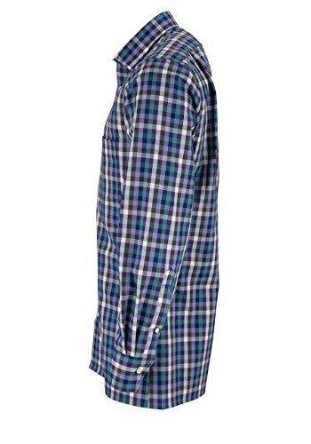MARVELIS Modern Fit Hemd Langarm Karo blau