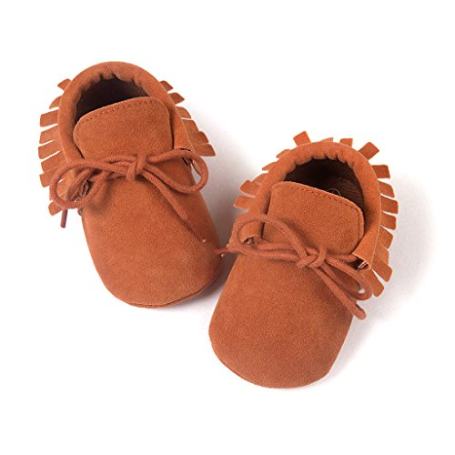 Top-Sell Niños Infantes Borlas Decoración Zapatos De Bebé Anti Slip Soft Sole Prewalker Caqui