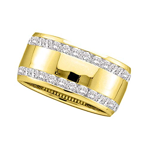 - 14k Yellow Gold Diamond Channel-set Double Row Wedding Band 1.00 ct