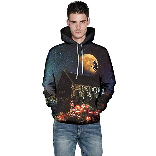 iHPH7 Men Women Mode 3D Print Long Sleeve Halloween Couples Hoodies Top Blouse Shirts]()