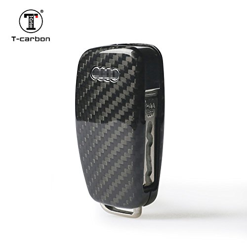 T-Carbon Geniune Carbon Fiber Remote Key Chain 3k Highlight Polish Keyless Protection Case Cover for Audi A1 A3 A4L A6 Q3 Q7 TT S3 S6 Q3