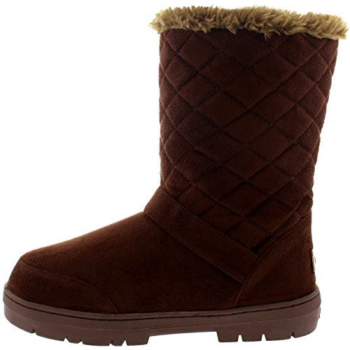 Mujeres One Buckle Classic Short Acolchado Impermeable Invierno Nieve Lluvia Botas Brown