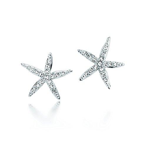 Rhodium Plated Stud Earrings with Swarovski Crystals ()