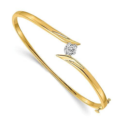 Jewelry Adviser Bangle Bracelets 14k Two-tone A Diamond bangle Diamond quality A (I2 clarity, I-J color)
