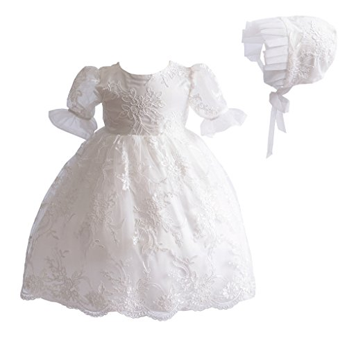 Romping House Newborn Girls 2Pcs Floral Lace Christening Gown Baptism Dress with Ruffle Bonnet Ivory Size 18M]()