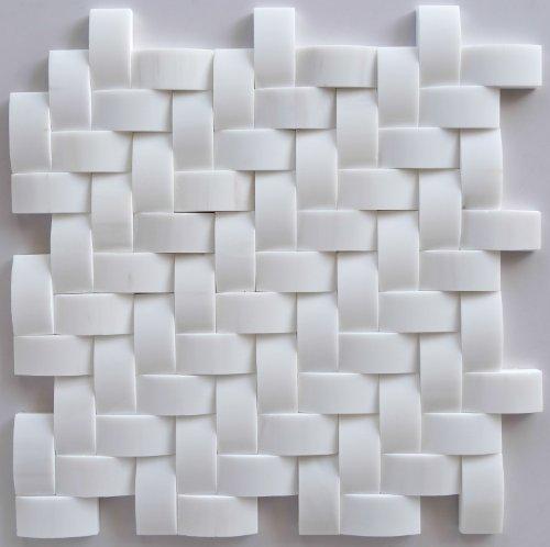 Premium White Dolomite 1 X 2 Herringbone Round-Faced Honed Mosaic Tile - Box of 5 Sheets - Dolomite White Marble