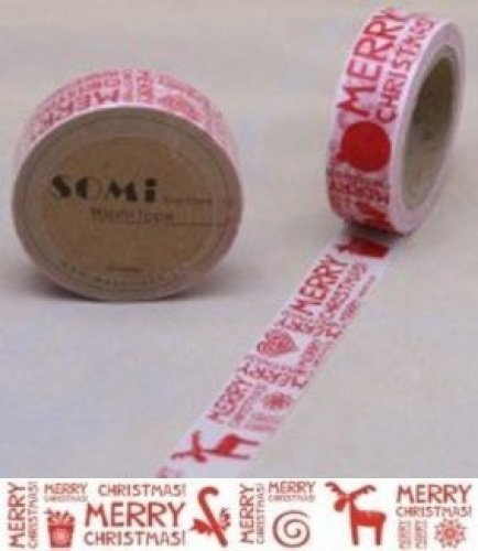 Washi Tape Red White Merry Christmas Reindeer Design 10m x 1.5 cm somi