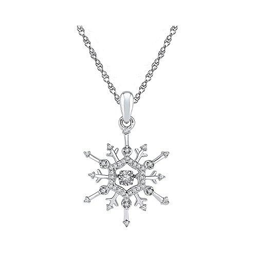 White Gold Diamond Snowflake Pendant - 10kt White Gold Womens Round Diamond Snowflake Winter Cluster Pendant 1/6 Cttw