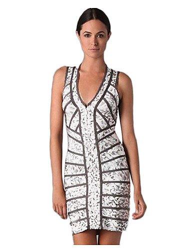 PU&PU Robe Aux femmes Moulante Sexy,Rayé Col en V Mini Polyester , white-xl , white-xl