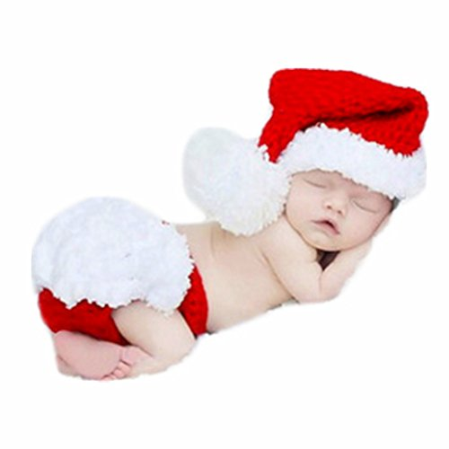 Coberllus Baby Newborn Photo Props Boy Girl Photo Shoot Outfits Crochet Knit Christmas Clothes Hat Shorts Photography Props