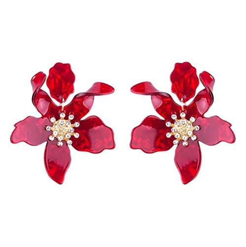 Miweel Bohemian Luxury Oversize Resin Big Flower Earrings For Women Stainless Steel Crystal Jewelry (Dark Red)