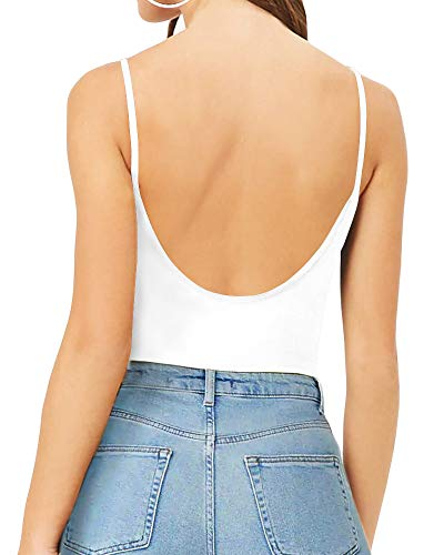 (MANGOPOP Women's Backless Camisoles Bodysuits (White, X-Large))