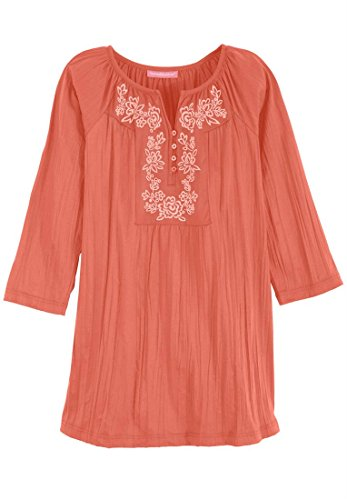 Women's Plus Size Pretty Crinkle Knit Tunic Top With Lavish Embroidery 3/4 Sleeves (Dusty Coral,4X)