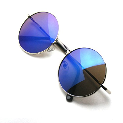 John Lennon Sunglasses Round Shades Gold Frame Mirror Lenses Retro (Purple Ice, - Hipster Shades