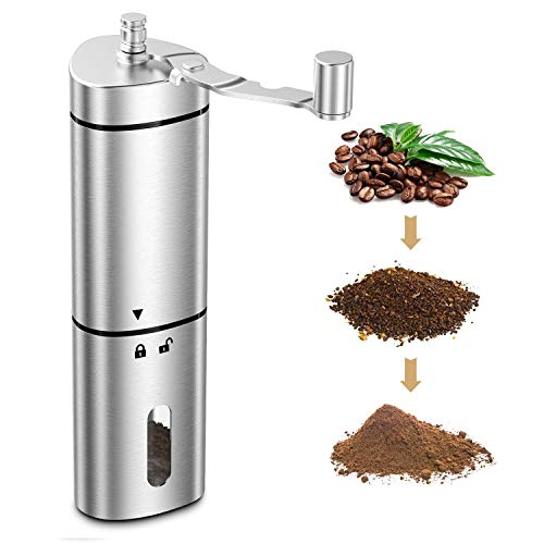 COMSOON Manual Coffee Grinder with Adjustable Setting, Portable Hand Coffee Grinder Conical Ceramic Burr Grinder…