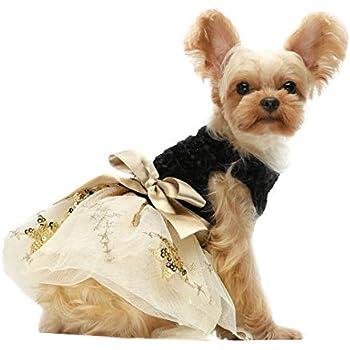XS, Gold Biling Dog Dress Tutu Skirt Flower Dog Pet Cat Luxury Princess Wedding Dress Summer Dog Chihuahua Clothes