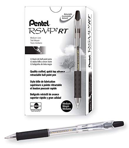 (Pentel R.S.V.P. RT Retractable Ballpoint Pen, 1.0mm Tip, Black Ink, Box of 12 (BK93-A))