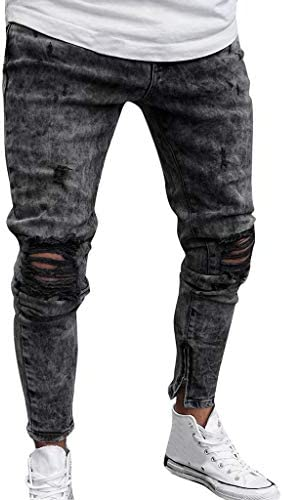 Men's Skinny Jeans Fashion Teen Boys Stretch Slim Fit Ripped Destroyed Distressed Snow Wash Denim Jeans Pants