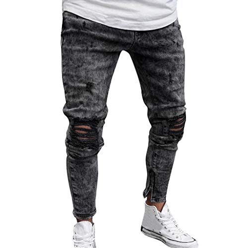 NUWFOR Mens Skinny Stretch Denim Pants Distressed Ripped Freyed Slim Fit Jeans Trousers(Gray,US:36/AS:XXXL Waist:37.8″)