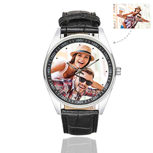 Custom Couple Photo Watch Casual Black Leather Strap Wrist Watches for Men/Your Boyfriend/Husband (Photo Watch)