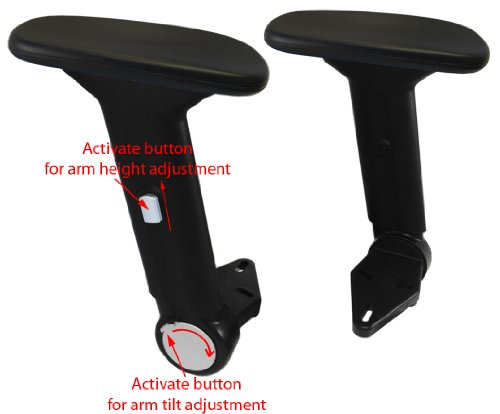 Height Adjustable Office Chair Armrest w/ Arm Pads (Pair) S4761-K - Replacement Arms by chairpartsonline