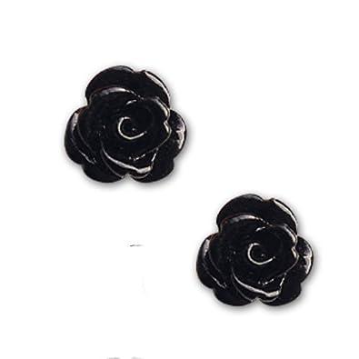 etNox Ohrstecker schwarze Rose Ohrringe Ohrschmuck Silber (et Nox ... 4b48b61348