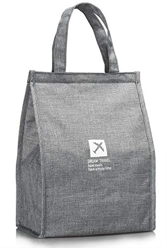 Lunch Bag Insulated Lunch Bag Large Waterproof Adult Lunch Tote Bag For Men  or Women (Gray) 2c2ffdd6afd62