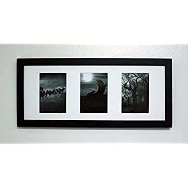 Golden State Art, 8x20 Black Photo Wood Collage Frame with Mat displays (3) 4 x6  pictures
