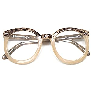 Classic Round Horn Rimmed Eye Glasses Clear Lens Oval Non Prescription Frame