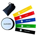 Resistance Bands and Core Sliders Bundle - elevans Premium High Quality Sliders Pair and 5 Levels of Resistance Bands