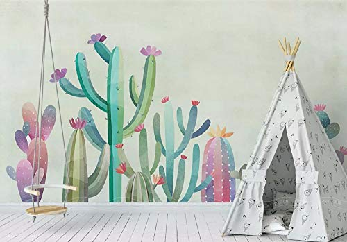 Wall Mural 3D Wallpaper Hand Painted Cactus Fresh Garden Modern Wall Paper for Living Room Bedroom Tv Wall Decor ()
