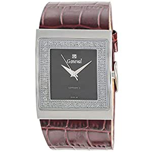 Geneval Women's Black Dial Leather Band Watch - GLS044WBO