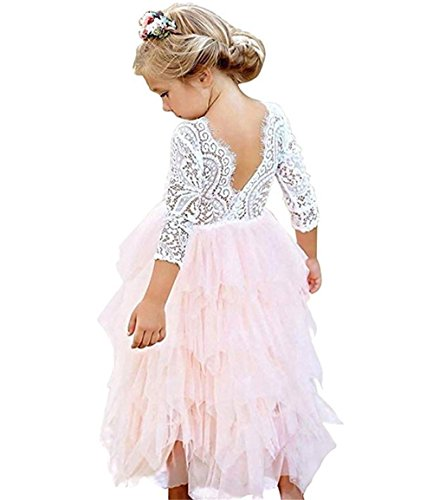 Toddler Baby Flower Girls Princess Tulle Dress Lace Backless Tutu A-line Beaded Party Dresses Pink ()