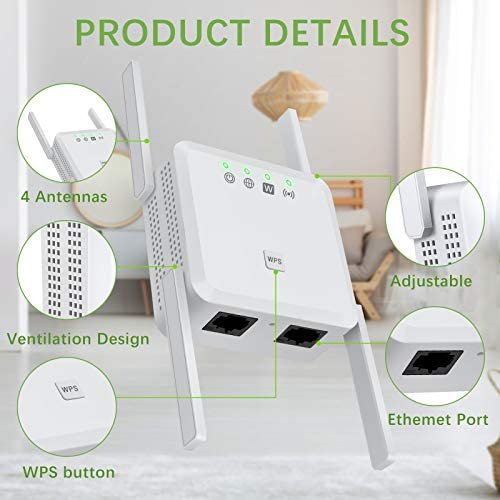 Wireless WiFi Booster Range Extender,1200Mbps Dual Band WiFi Repeater 2.4 & 5Ghz,4 Antennas Extend The WiFi Signal to Smart Home & Alex Devices, 360° Full Coverage Without Dead Ends