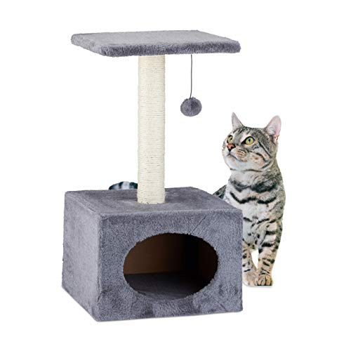 Relaxdays Arbol Rascador para Gatos con Cama Cueva, Sisal, Gris, 56 x 31 x 31 cm