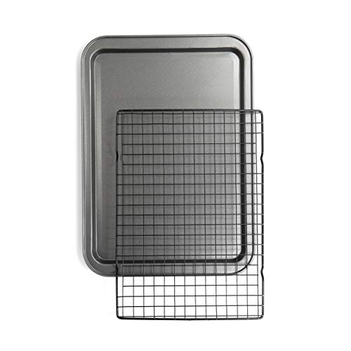 Chef Pomodoro Non-Stick Baking Sheet and Cooling Rack Set , 2-Piece, Carbon Steel Cookie Sheet, Bacon Rack, Oven Safe…
