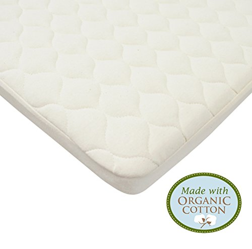 American Baby Company Waterproof Quilted Fitted Portable/Mini Crib pad cover made with Organic Cotton Top Layer, Natural Color