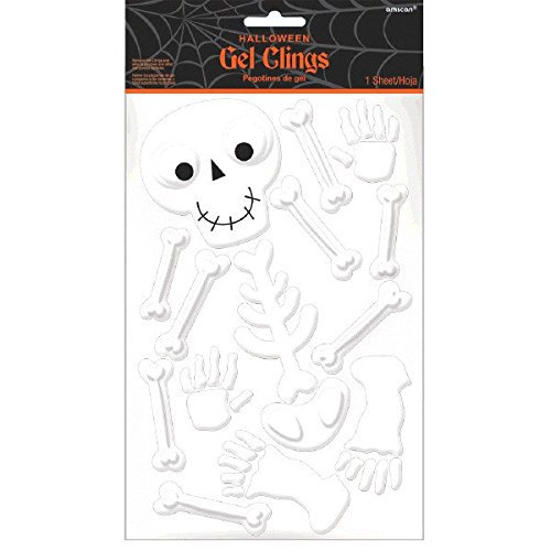 Amscan Small Family Friendly Skeleton Gel Clings Halloween Trick or Treat Party Decoration, White, 11 1/2