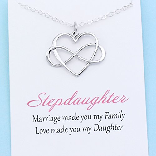 Stepdaughter Gift • Infinite Love Necklace • Sterling Silver Infinity Heart • From Mom/Dad For Step Daughter • Personalized Meaningful (Mom Daughter Jewelry)