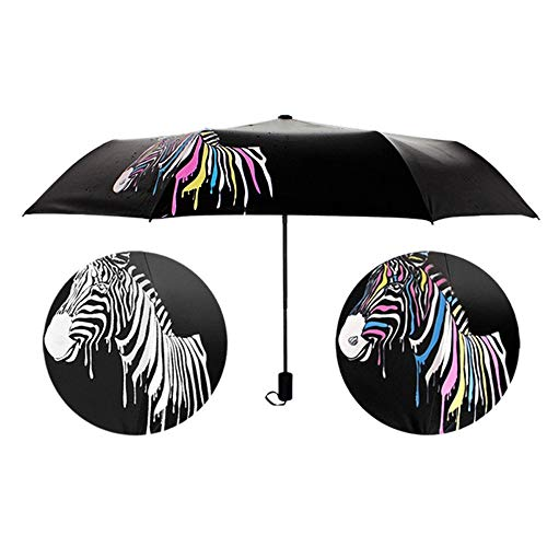 Price comparison product image BCDshop Folding Umbrella Rain Shade Anti-UV Unique Color Changing Zebras Compact Sunshade Parasol (Black)